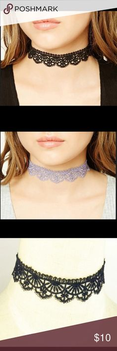 Juliet Choker ♡ The Juliet Choker is available to chose from the colors purple or black  ♡ Has an extension chain to accommodate to neck ♡ PRICE IS FIRM. ALL LOWER OFFERS WILL BE DENIED.  ♡ Selling it for cheaper ($7) on my boutique website which is www.angeliteboutique.storenvy.com Jewelry Necklaces
