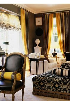 brown and gold (yellow) curtains - like the idea of double layering in sheer fabric....possibly in the dinning room