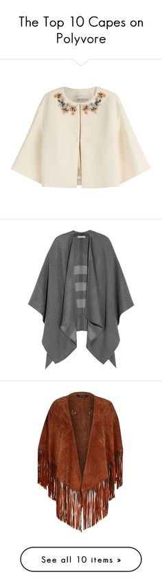 """""""The Top 10 Capes on Polyvore"""" by polyvore-editorial ❤ liked on Polyvore featuring Capes, outerwear, jackets, casacos, cape, coats, white, white shrug, cape coat i white cropped jacket"""
