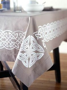 """Decor To Adore: All Things Irish - """"I love the elegant simplicity of this Celtic tablecloth created with a stencil and fabric paint."""""""