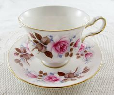 Vintage Queen Anne Tea Cup and Saucer with Pink Roses, Bone China