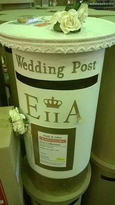 Wedding Post Box - comes plain and you do the decoration yourself = lotsa fun! http://www.hobbycraft.co.uk/hobbycraft-mache-post-box-60cm/586685-1000