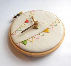 Ice Cream Bunting Hand Embroidered Mini Wall Clock