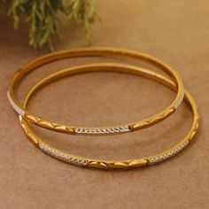 Items similar to Bollywood Gold Plated Light Weighted Engraved Minimalist Design Thin Bangle Bracelet Set Silver Anklets, Silver Bracelets, Silver Rings, Beaded Bracelets, Diy Jewelry Necklace, Jewlery, Earrings, Gold Bangles Design, Gold Models