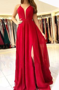 Red Chiffon Prom Dresses Long A-line Evening Dresses #prom #promdress #dress #eveningdress #evening #fashion #love #shopping #art #dress #women #mermaid #SEXY #SexyGirl #PromDresses