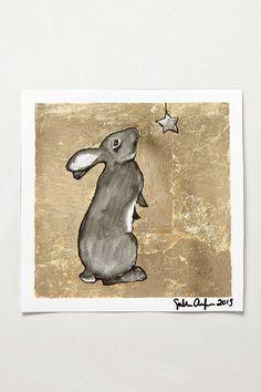 Nursery Decor - Girl - Gilded Bunny Print - anthropologie.com