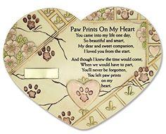 Remembrance Plaque Pet Memorial Paw Prints On My Heart Pet Marker Markers Indoor/Garden Plaque, Stone Look