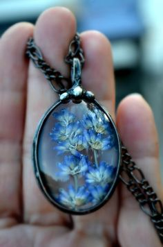 Dried Lavender Necklace Wildflower Necklace от BayouGlassArts