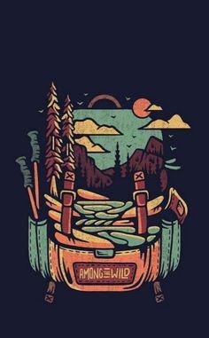 Graphic Design Illustration, Illustration Art, Illustrations, Backpack Drawing, Travel Logo, Graphic Design Inspiration, Travel Inspiration, Sticker Design, Adventure Time