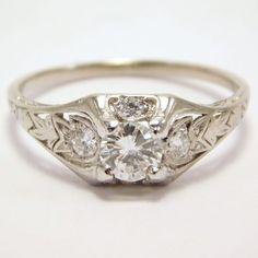 Art Deco Platinum And Diamond ½ Carat Wedding Ring