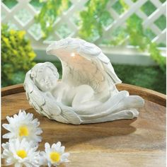 Ivory Cherub Angle Pot Holder Sculpture Hanging Ornament Planter Decor Gift 12cm