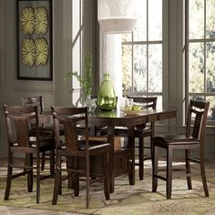 @Overstock - TRIBECCA HOME Marsden Rustic Brown 7-piece Mission Counter Height Dining Set - This sleek seven-piece dining set is crafted from rubberwood for superior durability. The rich dark espresso finish has a calming effect and the polyurethane foam cushions make a comfortable seat. The table also has a twelve-inch removable leaf.  http://www.overstock.com/Home-Garden/TRIBECCA-HOME-Marsden-Rustic-Brown-7-piece-Mission-Counter-Height-Dining-Set/7295834/product.html?CID=214117 $899.99