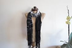 ONLY 1 Fringed Scarf Black white floral long wrap by AtlasScarf