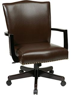 Office Star Morgan Managers Chair with Thick Padded Bonded Leather Seat and Back with Steel Reinforced Wood Base and Dual Wheel Carpet Casters, Espresso ❤ Office Star