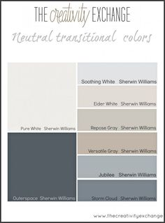 The best place to start when choosing paint colors for a home. Neutral:transitional color palette {The Creativity Exchange} (scheduled via http://www.tailwindapp.com?utm_source=pinterest&utm_medium=twpin&utm_content=post92988625&utm_campaign=scheduler_attribution)