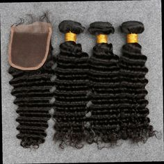54.00$  Buy here - http://aliqln.worldwells.pw/go.php?t=32724402240 - 3 Pcs Peruvian Deep Wave Human Virgin Hair With Closure Peruvian Deep Wave With Lace Closure With 3 Bundles Free Shipping 54.00$