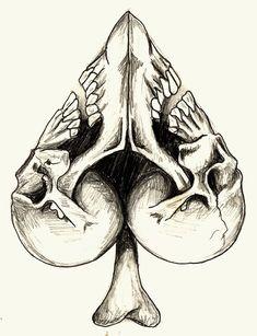 Spades Skull Tattoo Design