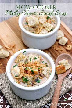 Slow Cooker Philly Cheesesteak Soup on MyRecipeMagic.com