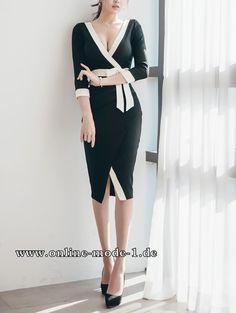 Elegantes Patchwork Kleid in Schwarz