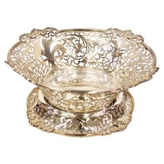 Antique English Sterling Silver Cake Basket   From a unique collection of antique and modern centerpieces at http://www.1stdibs.com/furniture/dining-entertaining/centerpieces/