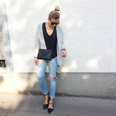 tifmys - Céline Mini Audrey sunnies and trio bag, H&M fluffy cardi and denim & Topshop Ghillie Lace-up flats.