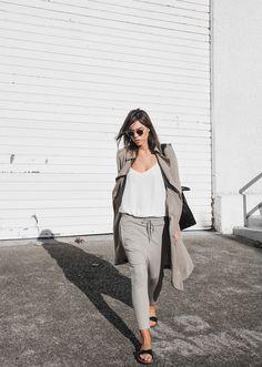 Zara trench (similar here) | Camilla and Marc 'Zoya' cami (or budget option) | Bassike pants (similar here) | Birkenstock 'Madrid' sandals | Sambag sunglasses