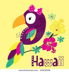 beautiful parrot with hawaii flowers vector illustration - stock vector