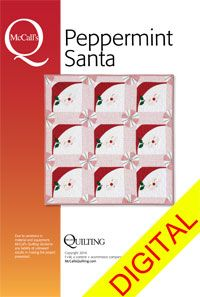 Peppermint Santa digital quilt pattern - adorable quilted table topper or wall hanging pattern