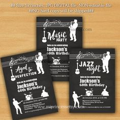 Printable adult birthday party invitation guitarjazz theme jazz birthday invitation music jazz nigh aged to by miprincess stopboris Images
