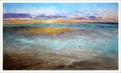 Cuadro en acuarela de un atardecer en una playa de Andalucía. Podría ser un atardecer de Cádiz, Huelva o Málaga pintado por Rubén de Luis