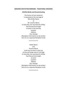 Older Couple Wedding Invitation Wording | WEDDING INVITATION WORDING Traditional Wedding Couple Hosting by ...