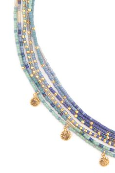 Chan Luu - Blue Mix Multi Strand Charm Necklace, $345.00 (http://www.chanluu.com/necklaces/blue-mix-multi-strand-charm-necklace/)