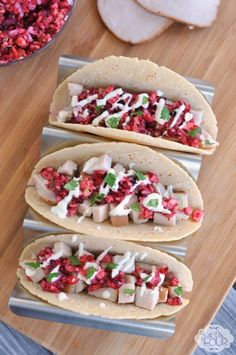 Don't give away your Thanksgiving leftovers this year. Use them to make these delicious turkey tacos with cranberry salsa and have everyone asking for more.
