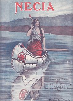 Necia 1921 Sheet Music Carl R Miller Native American Indian Woman in Canoe