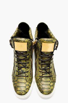 GIUSEPPE ZANOTTI Green Embossed BIREL High Top Sneakers