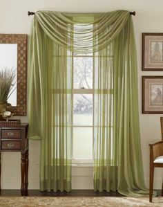 """Pair of Sage Sheer Curtain Panels Window Treatments by HLC.ME. $6.95. Each panel is approximately 54"""""""" wide and 84"""""""" in Length. For a full look use 2 panels to cover a standard size window. This picture shows two sheer panels, this package contains two (2) Sheer Panel. Decorate every window with style and sophistication. Allows natural light to flow through the room Add a Sheer Scarf for an elegant finished look (not included) Have pocket insert that create a clean, tailor..."""