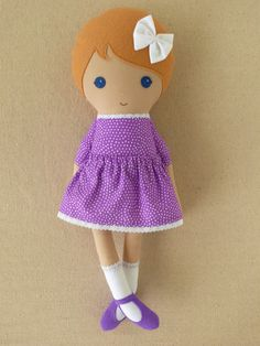 Custom Listing for Brittany - Fabric Doll Rag Doll Girl in Purple Polka Dotted Dress