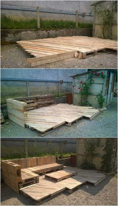 Next we have interesting pallet deck with furniture. This shipping pallet project is best for the garden areas. You can suitably make the use of it for sitting purposes along with the small center table in it. It looks unique and do give out an impressive outcome as any stranger will make an entrance in your garden area. #deckdesigntool