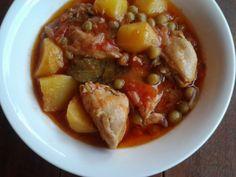 Κοτόπουλο+κοκκινιστό+με+αρακά