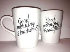 "Latte mug couple set of 2 romantic couple mug set- ""Beautiful and Handsome"" set perfect couple gift wedding gift, housewarming Gift. $36.00, via Etsy."