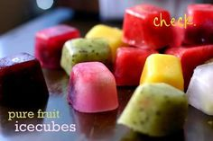 ☆.•♥• Pure Fruit IceCubes Recipe! .•♥•☆    A glass of lemonade is a true treat. But a glass of lemonade that you get to customize with colored cubes of frozen fruit?  Well, that's just a dream come true for kids and adults alike.     YOU CAN EVEN JUST EAT THEM! ~ I DO :)  Ingredients~   2 c. prepared Lemonade  Variation of fresh fruits to puree in blender  (try kiwi, berries, mangos, guava, limes, watermelon, cherries)