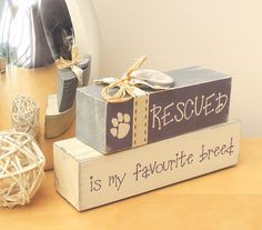 Have you rescued a pet or did your pet rescue you?!!  I was inspired to make this dear little stack of blocks by the many kind-hearted and loving people Ive encountered, since I started selling my pet-related gifts & crafts. Whether it be cats, dogs, hamsters, donkeys... these blocks make a wonderful gift for anyone who has a rescued animal in their life. Use them as a paperweight, a bookend, or just display them as a decorative ornament. I use recycled solid timber offcuts, making each…