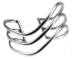 "Three Strand Wave Wire 925 Sterling Silver Cuff Bracelet 1"" Wide 32.4 Grams NEW #TD #Cuff"