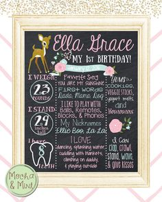 First Birthday Chalkboard Sign Girl Woodland Deer