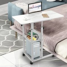 Adjustable Height Table, Adjustable Desk, Foyers, Storage Shelves, Storage Spaces, Home Bedroom, Bedroom Decor, Overbed Table, Sofa Side Table