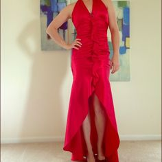 Jessica McClintock Red Dress Jessica McClintock long red dress with high-low bottom. Only worn once! Like new. Cinched back. Jessica McClintock Dresses