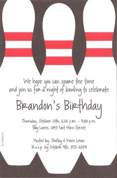 Bowling Party Invitations Template Free