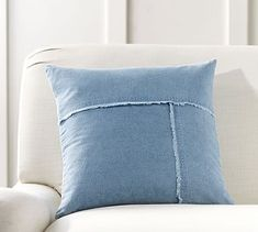 This pillow cover brings the soft, comfortable style of your favorite jeans to your sofa. Frayed seams and the pieced design add to the deconstructed look. DETAILS YOU'LL APPRECIATE • Made of 100% cotton denim. • Zipper closure; ins…