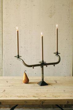 Recycled bicycle handlebar as candelabra