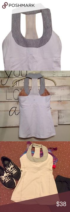 🛍just lower$🛍Lululemon Yoga ScoopTank Halter Top Perfect for Yoga/Running/Training top this is gray color from Lululemon weird the picture looks tan but it's gray. lululemon athletica Tops Tank Tops